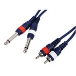 CABLE AUDIO 2xRCA MACHO LR  2xMONO JACK 635mm 150 m